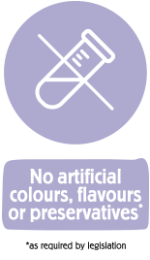 No artificial colours flavours or preservatives